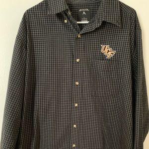 UCF Black Checkered Button Down Shirt - Large